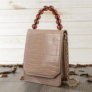 Vegan Leather Croc Clutch Bag with Beads Handle